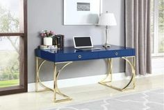 The Odessa Glossy Blue Writing Desk offers a sleek, modern design and adds a bold pop of color to any space. Computer Desk With Hutch, Desk With Drawers, Stanley Furniture, Fine Furniture, Home Office Desks, Office Decor, Wood Writing Desk, Desk And Chair Set, Solid Wood Desk