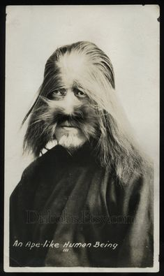 RARE Original 1920s Hairy Faced Monkey Boy // Human Oddity. $127.50, via Etsy.