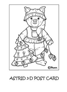 Karens Kravlenisser. Cut-outs and Colouring Pages. : Christmas Bear and Doll 3D Postcards to Colour. Jule bamse og dukke 3D postkort til at farvelægge.