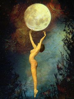 Mystical, mythological art of the Goddess and the Divine Feminine by Lisbeth Cheever-Gessaman Wicca, Magick, Stars Night, Stars And Moon, Moon Magic, Beautiful Moon, Moon Goddess, Foto Art, Nocturne
