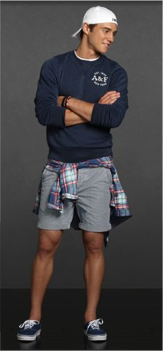 Put a preppy spin on 90's grunge with this Abercrombie & Fitch look.