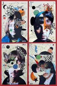 Deconstructed fab 4 by Loui Jover. Les Beatles, Beatles Art, Photomontage, Collage Portrait, Pop Art Collage, Collage Book, Portraits, Atelier Photo, Arte Pop
