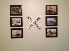 "Great for a wall in a train themed bedroom.  I found various train pictures online for free download, got them printed in 8x10's at Walgreens, and bought cheap frames at Walmart.  I painted some wood white and used poster board letters to write ""RAILROAD CROSSING"".  My son loves it!"