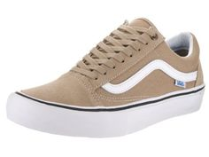 b948d2eb2096ea Vans Men s Old Skool Pro Khaki White Skate Shoe 9 Men US