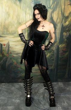 Tudorgoth Mini Dress - steampunk goth minidress by Moonmaiden Gothic Clothing UK