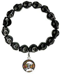 Dead Head Chef Charm Black Howlite Stone Skulls Stretch Bracelet