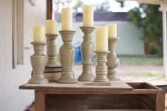 Set of 6 Ceramic Candle Holders- Grey