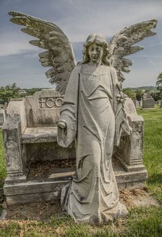 It is sad to see such a beautiful piece of art not being looked after. Cemetery Monuments, Cemetery Statues, Cemetery Headstones, Old Cemeteries, Cemetery Art, Angel Statues, Graveyards, Cemetery Angels, Angel Guide