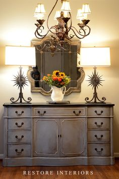Equal parts of Annie Sloan Chalk Paint decorative paint in Paris gray and Louise Blue. Great color!
