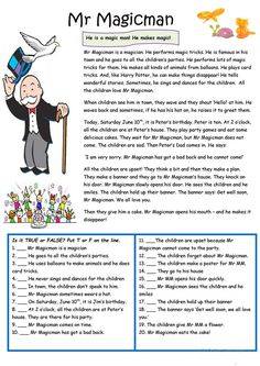 Mr Magicman - he is special! worksheet - Free ESL printable worksheets made by teachers Reading Comprehension Activities, Reading Worksheets, Reading Fluency, Reading Passages, Reading Strategies, Reading Skills, Printable Worksheets, English Reading, English Writing