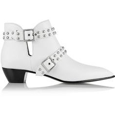 Marc by Marc Jacobs Carroll studded leather ankle boots (700 BRL) ❤ liked on Polyvore featuring shoes, boots, ankle booties, white, cut-out ankle boots, short boots, leather bootie, studded booties and ankle boots