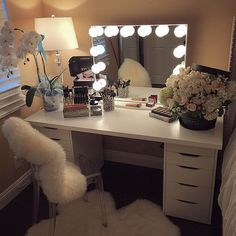 "Pin for Later: 21 Flawless Beauty ""Battle Stations"" That Will Give You Vanity-Envy Multiple drawers for storing beauty supplies"