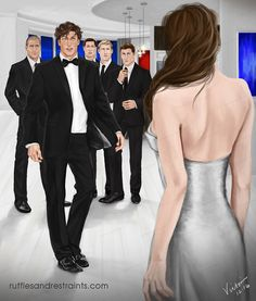 Christian, Taylor and his team were all stunned when they saw Ana enter the room in her gown for the masquerade ball. But I thought it'd be fun to try creating an illustration sort of showing her perspective of seeing all of their reactions. ;)