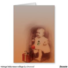 vintage baby xmas collage greeting card