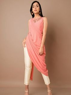 eaa14c6782  Pink Side Slit Cowl Dupatta Drape Tunic Shirt Style Kurti
