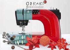 The #Oekaki #Renaissance sewing machine has a new colour in the family! Are you a Red or a Sage fan?