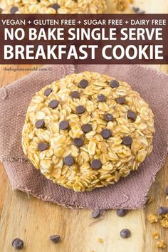 Recipes Breakfast Cookies Healthy Single Serving Breakfast Cookie FOR ONE! Thick, soft and chewy cookie that is protein packed, sugar free and requires NO baking- A foolproof recipe! Fall Desserts, No Bake Desserts, Single Serve Cookie, Biscuits, Breakfast Cookie Recipe, Thing 1, Healthy Baking, Healthy Sugar, Ice Cream Recipes