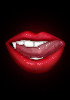 Vampire Lips Art Print by adamzworld Cool Lock Screen Wallpaper, Mood Wallpaper, Wallpaper Ideas, Iphone Wallpaper, Colored Pencil Portrait, Lip Biting, Vampires And Werewolves, Vampire Art, Dope Art