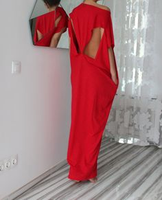 Red Open Back Maxi caftan dress Maxi Oversized Long Elastic Cotton Party Day Beach Casual Spring Summer Dress on Etsy, $69.00