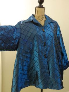 ART TO WEAR Lagenlook IC Collection jacket artsy top blue designer quirky sz 1X #ICCollection #BasicJacket #EveningOccasion