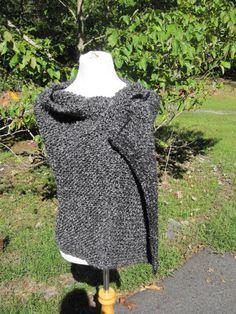 Edwardian Black / Grey Knit Shawl. $65.00, via Etsy.