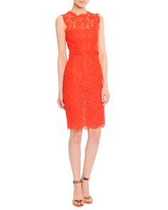 Sleeveless Lace Sheath Dress by Valentino at Bergdorf Goodman. Loose bodice with scallop bottom. Could adapt to long sheath.