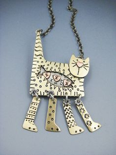 Kitty Necklace Kitty Jewelry Cat Jewelry Dangle by riverpathstudio, $74.00