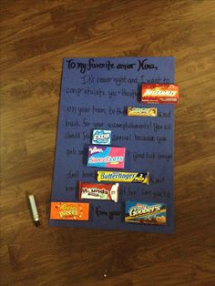 Senior night gifts candy congratulations card crafts cheer and volleyball poster ideas for softball. Softball Gifts, Cheer Gifts, Team Gifts, Coach Gifts, Senior Night Gifts, Senior Day, Volleyball Posters, Last Game, Team Mom