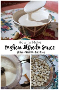 How to make creamy, dairy free, Alfredo Sauce. This is great on zoodles or spaghetti squash. Dairy Free Recipes, Paleo Recipes, Real Food Recipes, Cooking Recipes, Yummy Food, Paleo Meals, Sauce Recipes, Dairy Free Alfredo Sauce, Sauce Alfredo