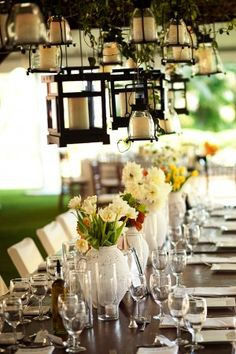 Tuscan Inspired Tabletop...love all the hanging lights!
