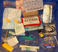 Altoids tin into DIY survival kit!  One of the better I've seen...think I'd only add a 20 dollar bill (because you know the ATMs won't work) and something to repel bugs in little bits of sealed pieces of straw