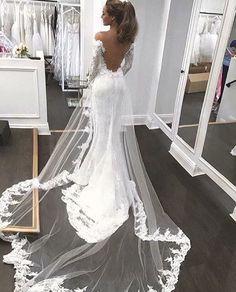 Open Back Mermaid Fashion Tailored wedding dress with long sleeves - Brautkleid a linie - Wedding dresses Tailored Wedding Dress, Wedding Dress Sleeves, Long Sleeve Wedding, Dream Wedding Dresses, Bridal Dresses, Wedding Gowns, Lace Wedding, Bridesmaid Dresses, Wedding Venues