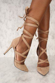 These sexy and stylish single sole heels are a must have! Features, a faux suede texture, pointy toe, strappy lace tie to style as liked, and a cushioned foot b Stiletto Heels, Shoes Heels, 6 Inch Heels, Gladiator Heels, Sexy High Heels, Formal Shoes, Pairs, Womens Fashion, Dress Shoes