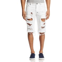 Prps Goods & Co. Ripped Denim Shorts ($208) ❤ liked on Polyvore featuring men's fashion, men's clothing, men's shorts, white, mens ripped shorts, mens cotton shorts, mens white denim shorts, mens denim shorts and mens white shorts