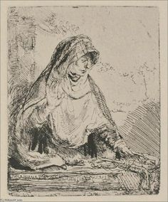 The Virgin Mourning the Death of Jesus, Drawing by Rembrandt Van ...