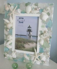 seashells and beach glass (w pearls) frame