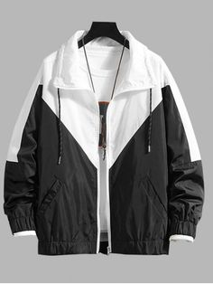 Colorblock Spliced Drawstring Casual Jacket - White M Model Outfits, Edgy Outfits, Outfits For Teens, Fashion Outfits, Denim Jacket Men, Cosplay Outfits, Alternative Outfits, Character Outfits, Types Of Fashion Styles