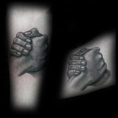 Shaded Black And Grey Ink Brother Hand Shake Arm Tattoo Ideas For Guys