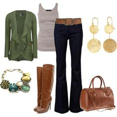 green sweater by frankie.  love these dark jeans and the cardigan/tank combo