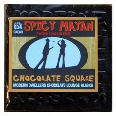65% dark chocolate infused with our signature Spicy Mayan-a blend of 3 chilis and a touch of cinnamon.