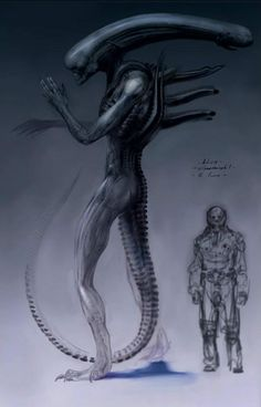 """Unused Prometheus concept art- The preliminary design of the """"Ultramorph"""" which later became the Deacon"""