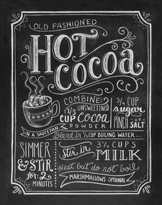 Hot Cocoa Chalkboard Art Print