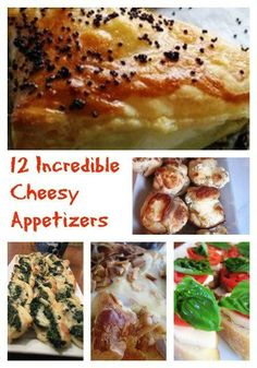 12 Incredibly Cheesy Appetizers Need a quick appetizer for your next party? I can help you with your dilemma! Scroll though to see 12 amazing cheesy apps that everyone will love – I have everything from Caprese bread to buffalo chicken dip. Your guests will be absolutely wowed by all this cheesy deliciousness!