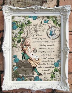 ALICE in Wonderland Print Alice in Wonderland Party Alice in Wonderland Decor Alice in Wonderland Decoration Mad Hatter Tea Party   C:A54 by OldStyleDesign on Etsy https://www.etsy.com/listing/269645907/alice-in-wonderland-print-alice-in