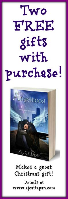 Buy the award-winning YA novel Angelhood for someone you love this Christmas, and you'll get two FREE gifts to go with it! You'll get a personalized bookplate autographed by the author and a special Angelhood bookmark. But hurry! This offer ends December 15, 2015! #Christmas #shopping #books #youngadult