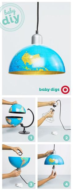 Show your baby more of the world with this DIY globe lamp. Show your baby more of the world with this DIY globe lamp. Luminaria Diy, Diy Lampe, World Globes, World Globe Lamp, Ideias Diy, Diy Décoration, Globe Lights, Wall Lights, Diy Furniture