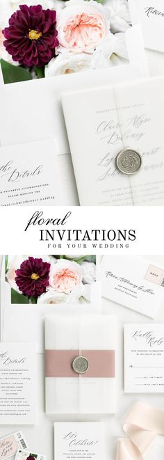 The Claire wedding invitation suite is paired with Audrey florals. Audrey features peach garden roses, burgundy dahlias, and white lisianthus.