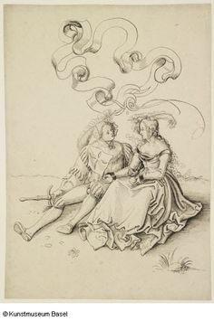 """""""Sitzendes Liebespaar"""" (sitting lovecouple), um 1510. Niklaus Manuel gen. Deutsch (?)"""