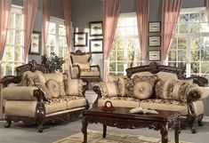 This Antique Style Luxury Sofa Set features chenille fabric, hand carved exposed wood frames, and decorative accent pillows which will liven up any formal living room. Classic Living Room, Elegant Living Room, Formal Living Rooms, Living Room Sets, Living Room Chairs, Living Room Decor, Rv Living, Leather Living Room Furniture, White Furniture