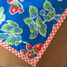 48 x 70 Strawberry Blue Oilcloth Tablecloth Floor by freckledsage